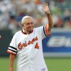 Photo - FILE - In this Friday, June 13, 2008 file photo, former Baltimore Orioles manager Earl Weaver waves to the crowd during a celebration in honor of the 1979 Orioles American League pennant winners before the baseball game between the Baltimore Orioles and Pittsburgh Pirates in Baltimore.  Weaver, the fiery Hall of Fame manager who won 1,480 games with the Baltimore Orioles, has died, the team announced Saturday, Jan. 19, 2013. He was 82. (AP Photo/Gail Burton, File)