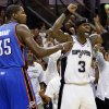 San Antonio\'s Stephen Jackson (3) reacts next to Oklahoma City\'s Kevin Durant (35) after the Thunder turned the ball over with 15.5 second left in the fourth quarter to give the Spurs a chance to tie Game 5 of the Western Conference Finals between the Oklahoma City Thunder and the San Antonio Spurs in the NBA basketball playoffs at the AT&T Center in San Antonio, Monday, June 4, 2012. The Thunder won, 108-103. Photo by Nate Billings, The Oklahoman