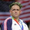 Photo - OLYMPICS, U.S., USA: Rulon Gardner, of United States, during the medal ceremony of the men's greco-roman 120kg wrestling event at the 2004 Olympic Games in Athens, Wednesday, Aug. 25, 2004. Gardner won the bronze. (AP Photo/Mark J. Terril)