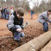 12 year old Brandon Novotny (left) and Phillip Gregg drive nails in a team competition, as the Will Rogers District of the Boy Scouts hosts a camporee at Camp Kickapoo in Oklahoma City, OK, Saturday, March 14, 2009. BY PAUL HELLSTERN, THE OKLAHOMAN