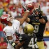Colorado\'s Daniel Dykes (9) pulls in an interception on a pass to Oklahoma\'s Juaquin Iglesias (9) during the second half of the college football game between the University of Oklahoma Sooners (OU) and the University of Colorado Buffaloes (CU) at Folsom Field on Saturday, Sept. 28, 2007, in Boulder, Co. The play led to a touchdown the tied the game for Colorado. By CHRIS LANDSBERGER, The Oklahoman