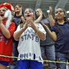 Jolie Walker, Addison Walker and Tiela Johnson, from left, cheer on Hammon during the Class B Girls State Basketball Championship game between Hammon and Arnett on Thursday, March 1, 2012 in Choctaw, Okla. Photo by Chris Landsberger, The Oklahoman