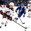 Photo - Phoenix Coyotes defenseman Brandon Gormley (33) controls the puck in front of Tampa Bay Lightning center Valtteri Filppula (51), of Finland, during the second period of an NHL hockey game Monday, March 10, 2014, in Tampa, Fla. (AP Photo/Chris O'Meara)