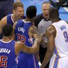 Los Angeles\' Blake Griffin (32) argues with Oklahoma City\'s Serge Ibaka (9) as Los Angeles\' Matt Barnes (22) and DeAndre Jordan (6) try to get between them during Game 1 of the Western Conference semifinals in the NBA playoffs between the Oklahoma City Thunder and the Los Angeles Clippers at Chesapeake Energy Arena in Oklahoma City, Monday, May 5, 2014. Photo by Bryan Terry, The Oklahoman