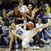 Duke\'s Haley Peters (33) falls as Maryland\'s Tianna Hawkins (21) defends during the second half of an NCAA college basketball game in Durham, N.C., Monday, Feb. 11, 2013. Duke won 71-56. (AP Photo/Gerry Broome)
