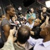 NBA BASKETBALL: Miami\'s Chris Bosh is surrounded by reporters and photographers during media and practice day for the NBA Finals between the Oklahoma City Thunder and the Miami Heat at the Chesapeake Energy Arena in Oklahoma City, Monday, June 11, 2012. Photo by Nate Billings, The Oklahoman