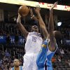 Oklahoma City Thunder\'s Reggie Jackson (15) shoots the ball over New Orleans Hornets\' Lance Thomas (42) during the NBA basketball game between the Oklahoma City Thunder and the New Orleans Hornets at the Chesapeake Energy Arena on Wednesday, Feb. 27, 2013, in Oklahoma City, Okla. Photo by Chris Landsberger, The Oklahoman