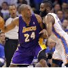 Los Angeles\' Kobe Bryant drives against Oklahoma City\'s James Harden during Game 2 in the second round of the NBA playoffs between the Oklahoma City Thunder and the L.A. Lakers at Chesapeake Energy Arena on Wednesday, May 16, 2012, in Oklahoma City, Oklahoma. Photo by Chris Landsberger, The Oklahoman