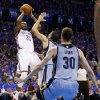 Oklahoma City\'s Kevin Durant (35) shoots over Memphis\' Tayshaun Prince (21) during Game 7 in the first round of the NBA playoffs between the Oklahoma City Thunder and the Memphis Grizzlies at Chesapeake Energy Arena in Oklahoma City, Saturday, May 3, 2014. Photo by Nate Billings, The Oklahoman