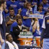 Denver\'s J.R. Smith (5) sits on the bench during the final seconds of the NBA basketball game between the Denver Nuggets and the Oklahoma City Thunder in the first round of the NBA playoffs at the Oklahoma City Arena, Sunday, April 17, 2011. Photo by Bryan Terry, The Oklahoman