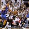 Oklahoma City\'s Nick Collison (4) defends Miami\'s Udonis Haslem (40) during Game 4 of the NBA Finals between the Oklahoma City Thunder and the Miami Heat at American Airlines Arena, Tuesday, June 19, 2012. Photo by Bryan Terry, The Oklahoman
