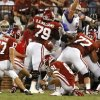 Oklahoma\'s Jimmy Stevens (17) misses an extra point during the first half of the college football game between the University of Oklahoma Sooners ( OU) and the Tulsa University Hurricanes (TU) at the Gaylord Family-Memorial Stadium on Saturday, Sept. 3, 2011, in Norman, Okla. Photo by Steve Sisney, The Oklahoman ORG XMIT: KOD