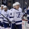 Photo - Tampa Bay Lightning's Ondrej Palat (18) celebrates his second-period goal against the Winnipeg Jets during an NHL hockey game Tuesday, Jan. 7, 2014, in Winnipeg, Manitoba. (AP Photo/The Canadian Press, Trevor Hagan)
