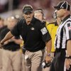 Missouri head coach Gary Pinkel argues an intentional grounding call during the college football game between the University of Oklahoma Sooners (OU) and the University of Missouri Tigers (MU) at the Gaylord Family-Memorial Stadium on Saturday, Sept. 24, 2011, in Norman, Okla. Photo by Steve Sisney, The Oklahoman