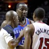 Oklahoma City\'s Kendrick Perkins (5) argues with Miami\'s Mario Chalmers (15) during Game 5 of the NBA Finals between the Oklahoma City Thunder and the Miami Heat at American Airlines Arena, Thursday, June 21, 2012. Photo by Bryan Terry, The Oklahoman
