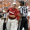 Oklahoma coach Bob Stoops reacts during the Red River Rivalry college football game between the University of Oklahoma Sooners (OU) and the University of Texas Longhorns (UT) at the Cotton Bowl in Dallas, Saturday, Oct. 8, 2011. Oklahoma won 55-17. Photo by Bryan Terry, The Oklahoman