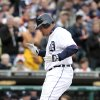 Photo -   Detroit Tigers' Miguel Cabrera crosses home plate after hitting a solo home run against the Minnesota Twins in the fourth inning of a baseball game Saturday, Sept. 22, 2012, in Detroit. (AP Photo/Duane Burleson)