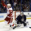 Detroit Red Wings\' Valtteri Filppula, of Finland, celebrates after scoring past St. Louis Blues goalie Brian Elliott during the third period of an NHL hockey game Thursday, Feb. 7, 2013, in St. Louis. Detroit won 5-1. (AP Photo/Jeff Roberson)