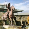 A statue of Will Rogers stands in the landscaped courtyard of the lower level of Will Rogers Airport. Civic leaders gathered Monday morning, Nov. 13, 2006, to officially celebrate the completion of new terminal construction at Will Rogers World Airport. By Jim Beckel, The Oklahoman