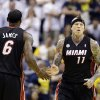 Miami Heat\'s Chris Andersen (11) is congratulated by LeBron James (6) after Andersen dunked during the second half of Game 3 of the NBA Eastern Conference basketball finals against the Indiana Pacers in Indianapolis, Sunday, May 26, 2013. (AP Photo/Nam H. Huh)