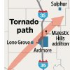 Photo - FEBRUARY 10, 2009 / LONE GROVE / SULPHUR / ARDMORE / MAJESTIC HILLS HOUSING ADDITION / Tornado path MAP / GRAPHIC