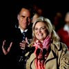 Photo -   Republican presidential candidate, former Massachusetts Gov. Mitt Romney, left, looks on as wife Ann introduces him at a campaign event at the Comfort Dental Amphitheater, Saturday, Nov. 3, 2012, in Englewood, Colo. (AP Photo/David Goldman)