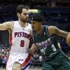Milwaukee Bucks\' Brandon Jennings (3) tries to drive past Detroit Pistons\' Jose Calderon (8) during the second half of an NBA basketball game Saturday, Feb. 9, 2013, in Milwaukee. (AP Photo/Morry Gash)