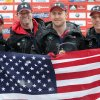 Photo - Steven Holcomb of the United States, from left, poses  with his team Curtis Tomasevicz, Steven Langton and Christopher Fogt after winning their four-man Bobsled World Cup race in Koenigssee, southern Germany, on Sunday, Jan. 26, 2014. (AP Photo/Matthias Schrader)