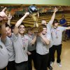 The Yukon boy\'s team holds the championship trophy after beating Broken Arrow in the championship game of the 2011-2012 State High School Bowling Championships at the Heritage Lanes Bowling Center in Oklahoma City, OK, Saturday, Feb. 25, 2012. By Paul Hellstern, The Oklahoman