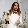 "Photo - Jared Leto poses in the press room with the award for best actor in a supporting role for ""Dallas Buyers Club"" during the Oscars at the Dolby Theatre on Sunday, March 2, 2014, in Los Angeles.  (Photo by Jordan Strauss/Invision/AP)"