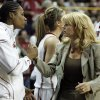 Amanda Thompson and head coach Sherri Coale shake hands as the University of Oklahoma (OU) defeats Georgia Tech 69-50 in round two of the 2009 NCAA Division I Women\'s Basketball Tournament at Carver-Hawkeye Arena at the University of Iowa in Iowa City, IA on Tuesday, March 24, 2009. PHOTO BY STEVE SISNEY, THE OKLAHOMA