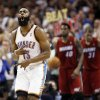 Oklahoma City\'s James Harden (13) reacts after a shot during the NBA basketball game between the Miami Heat and the Oklahoma City Thunder at Chesapeake Energy Arena in Oklahoma City, Sunday, March 25, 2012. Photo by Nate Billings, The Oklahoman