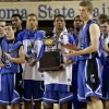 The Coyle basketball team stands with the runner-up trophy after the Class B boys state championship game between Coyle and Arnett in the State Fair Arena at State Fair Park in Oklahoma City, Saturday, March 2, 2013. Photo by Bryan Terry, The Oklahoman