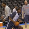 Oklahoma City\'s Kendrick Perkins goes through drills during the NBA Finals practice day at the Chesapeake Energy Arena on Monday, June 11, 2012, in Oklahoma City, Okla. Photo by Chris Landsberger, The Oklahoman
