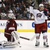 Columbus Blue Jackets\' Derek Dorsett, right, celebrates a goal against Phoenix Coyotes\' Jason LaBarbera (1) by teammate Fedor Tyutin during the second period in an NHL hockey game on Wednesday, Jan. 23, 2013, in Glendale, Ariz. (AP Photo/Ross D. Franklin)
