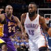 Oklahoma City\'s James Harden (13) drives past Los Angeles\' Kobe Bryant (24) during Game 2 in the second round of the NBA playoffs between the Oklahoma City Thunder and L.A. Lakers at Chesapeake Energy Arena in Oklahoma City, Wednesday, May 16, 2012. Oklahoma City won 77-75. Photo by Bryan Terry, The Oklahoman