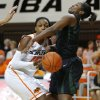 Oklahoma State\'s Toni Young (15) runs into Baylor\'s Kimetria Hayden (1) during a women\'s college basketball game between Oklahoma State University and Baylor at Gallagher-Iba Arena in Stillwater, Okla., Saturday, Feb. 2, 2013. Photo by Bryan Terry, The Oklahoman