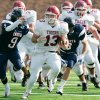 Photo - HIGH SCHOOL FOOTBALL PLAYOFFS: Tuttle's #13 Sterling Koons breaks loose on a long run  during their Class 3A semifinal game with Cascia Hall in Yukon, Okla. November 29, 2008.  BY STEVE GOOCH, THE  OKLAHOMAN.  ORG XMIT: KOD