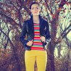Photo - Use black to ground bright colors. Stripe T-shirt by AZI and Woman cotton coated black jacket with Christopher Blue yellow jeans from Ruth Meyers. Model is Emiliy, makeup by Lilly Stone, Sooo Lilly Cosmetics. Photo by  Chris Landsberger, The Oklahoman. <strong>CHRIS LANDSBERGER</strong>