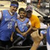 Johnny Miiler, at right, poses for a photo with his sons, Blake Miller, 8, and Johnny Miller, 10, left, before Game 2 of the Western Conference Finals between the Oklahoma City Thunder and the San Antonio Spurs in the NBA playoffs at the AT&T Center in San Antonio, Texas, Tuesday, May 29, 2012. Photo by Bryan Terry, The Oklahoman
