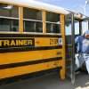 Bus driver trainees get off a school bus while training at the district\'s transportation center in northeast Oklahoma City, Thursday, Aug. 7, 2008. BY JIM BECKEL, THE OKLAHOMAN ORG XMIT: KOD
