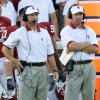 Photo - (Oklahoma VS South Florida college football at Owen Field, Saturday Sept. 28, 2002) OU head coach Bob Stoops & co-defensive coordinator Mike Stoops  during OU's game against South Florida. Staff Photo By Steve Gooch
