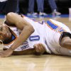 OKLAHOMA CITY THUNDER / NEW YORK KNICKS / NBA BASKETBALL Oklahoma City Thunder guard Russell Westbrook grimaces in pain after a hard fall during the Thunder - Knicks game January 11, 2010 in the Ford Center in Oklahoma City. BY HUGH SCOTT, THE OKLAHOMAN ORG XMIT: KOD