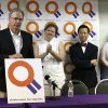 Attorney Don Holladay (left) takes part in a press conference with Mary Bishop, attorney Joe Thai and Sharon Baldwin (right) at the Dennis R. Neill Equality Center in Tulsa, Okla. on Monday, October 6, 2014. MATT BARNARD/Tulsa World
