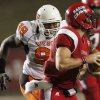 OSU\'s Richetti Jones chases after Louisiana-Lafayette\'s Chris Masson during the football game between the University of Louisiana-Lafayette and Oklahoma State University at Cajun Field in Lafayette, La., Friday, October 8, 2010. Photo by Bryan Terry, The Oklahoman