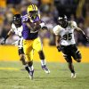 Photo -   LSU running back Kenny Hilliard (27) carries on a 71-yard touchdown run in the second half of their NCAA college football game against Idaho in Baton Rouge, Saturday, Sept. 15, 2012. (AP Photo/Gerald Herbert)