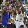Boston Celtics\' Jeff Green (8), right, reacts after scoring as New York Knicks\' Tyson Chandler (6), left, look on in the first half of an NBA preseason basketball game Saturday, Oct. 13, 2012, in Hartford, Conn. (AP Photo/Jessica Hill)