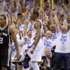 The crowd reacts after Oklahoma City\'s Kevin Durant (35) made a basket as San Antonio\'s Kawhi Leonard (2) watches during Game 4 of the Western Conference Finals between the Oklahoma City Thunder and the San Antonio Spurs in the NBA playoffs at the Chesapeake Energy Arena in Oklahoma City, Saturday, June 2, 2012. Oklahoma CIty won 109-103. Photo by Bryan Terry, The Oklahoman