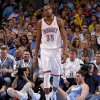 Oklahoma City\'s Kevin Durant (35) walks back after a foul was call on the Thunder as Denver\'s Danilo Gallinari (8) sits on the ground during the NBA basketball game between the Oklahoma City Thunder and the Denver Nuggets at Chesapeake Energy Arena in Oklahoma City, Wednesday, April 25, 2012. Oklahoma City lost 106-101. Photo by Bryan Terry, The Oklahoman