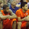 Oklahoma\'s Michael Cobbins (20) and Cezar Guerrero (1) watch the final seconds of the Big 12 tournament men\'s basketball game between the Oklahoma State Cowboys and Missouri Tigers the Sprint Center, Thursday, March 8, 2012. Photo by Sarah Phipps, The Oklahoman